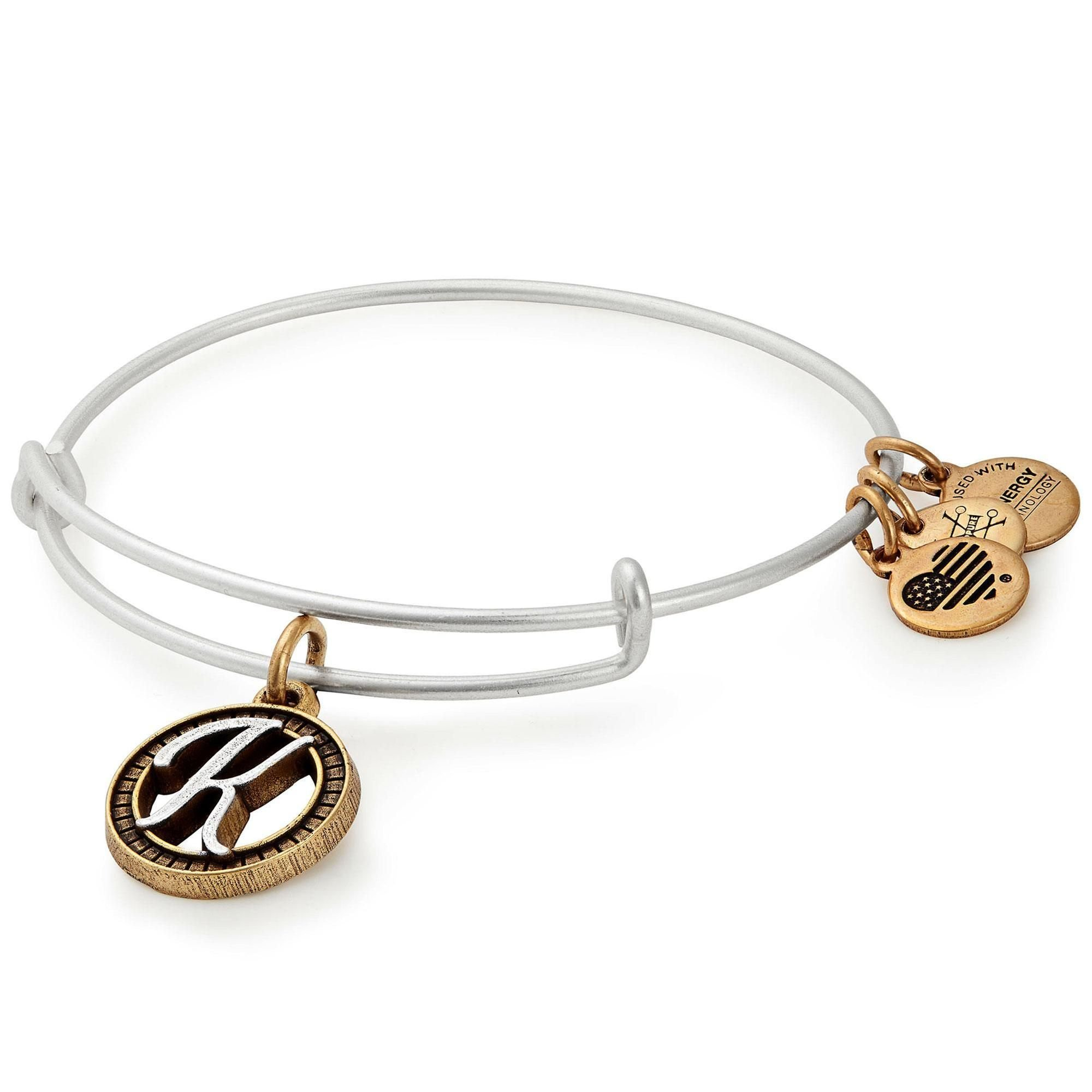 Alex and Ani Women's Initial K II Bangle Two Tone Bracelet, Rafaelian Silver
