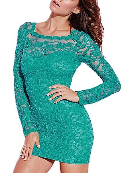 MYWY - Abito pizzo donna aderente maniche lunghe vestito pizzo verde  elegante sera (M f588ae48c42