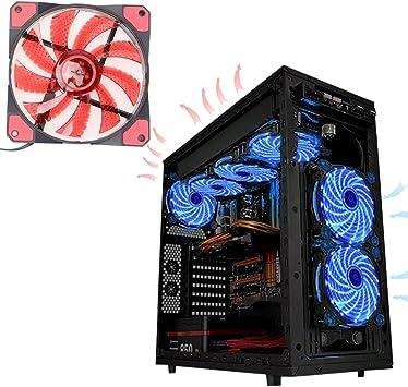 Glodenbridge ventilateur de 120 mm, ordinateur ventilateur de refroidissement CPU Fan lumière LED Neon 12 V DC 34 broches 1200trmin 53 CFM faible