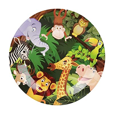 Cieovo 24 Count Disposable Plates Safari Jungle Animal Party Paper Plates Dinner Dessert Plates for Baby Shower Kids Animals Theme Birthday Party Supplies: Toys & Games