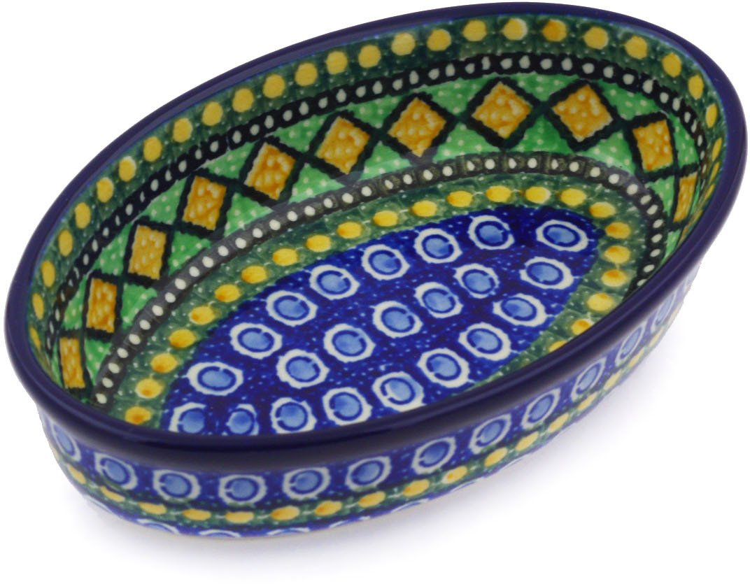 Polish Pottery 6½-inch Condiment Dish made by Ceramika Artystyczna (Stained Glass Window Theme) Signature UNIKAT + Certificate of Authenticity