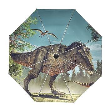 ALAZA Dinosaurio Divertido Viaje 3D Paraguas de Apertura automática Cerca de Protección UV a Prueba de