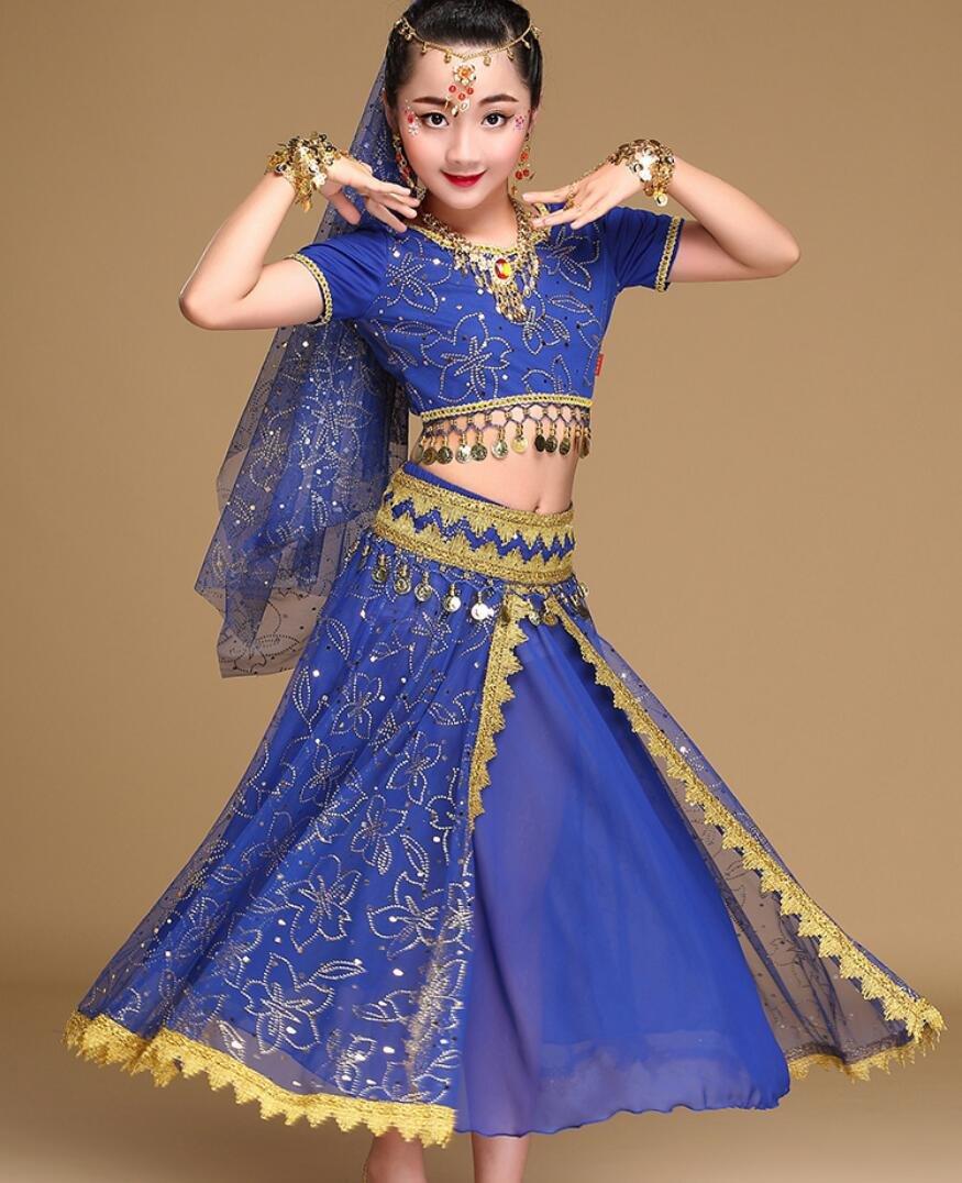 Disfraz de Danza del Vientre India Disfraz de Danza del Vientre Infantil para Mujer Disfraz de actuació n del espectá culo de Competencia Rosa/Rojo / Azul, l, Blue SMACO-Ropa de baile india para niños