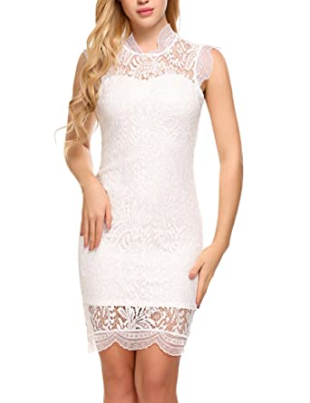 fe87ac6318c Zeagoo Women s Sleeveless Lace Floral Elegant Cocktail Dress Party Dress(Small