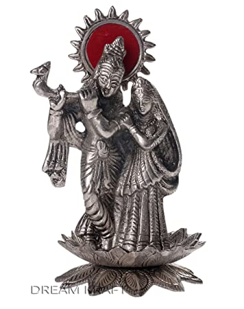 Buy Dreamkraft White Metal Lord Radha Krishna Idol On Flower For