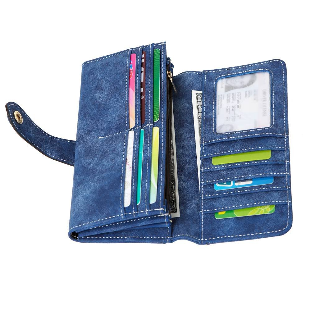 Women's Vegan Leather 17 Card Slots Card Holder Long Big Bifold Wallet,Navy by Cynure (Image #3)