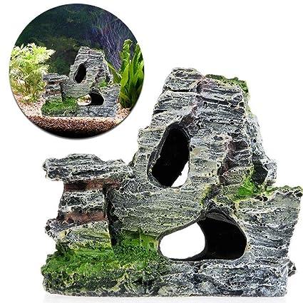 Naisider Resina Acuario Cueva Piedra pecera decoración 1 Piezas
