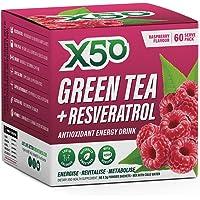 Green Tea X50 Green Tea and Resveratrol Raspberry Energy Drink Powder 60 Sachets, Antioxidants, Natural Fat Burner,, Raspberry 180 grams