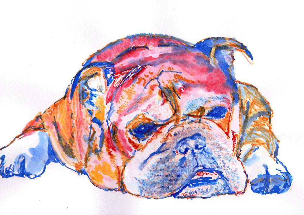 Choice of size Bulldog Wall Art Print English Bulldog Gifts Bulldog Owner Signed by Oscar Jetson Dog Decor English Bulldog Print Dog Art Painting Bulldog Artwork