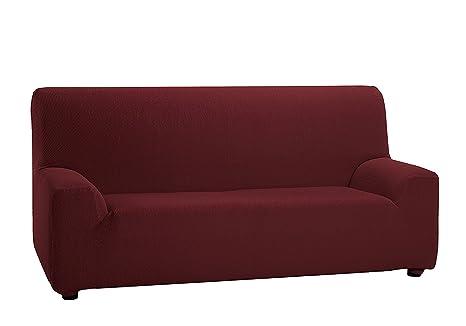 TEXTURAS VIP- Funda de sofá Elástica LOW COST (Varios tamaños disponibles)  (2_Plazas_140_170_cms, Rojo)