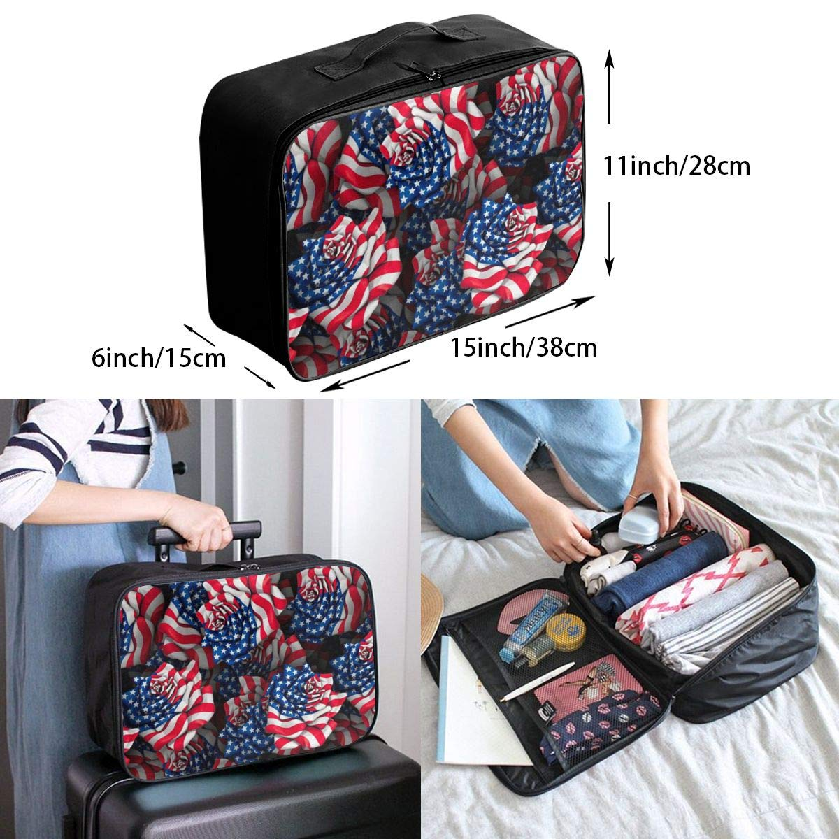 American Flag Rose Travel Carry Luggage Duffle Tote Bag