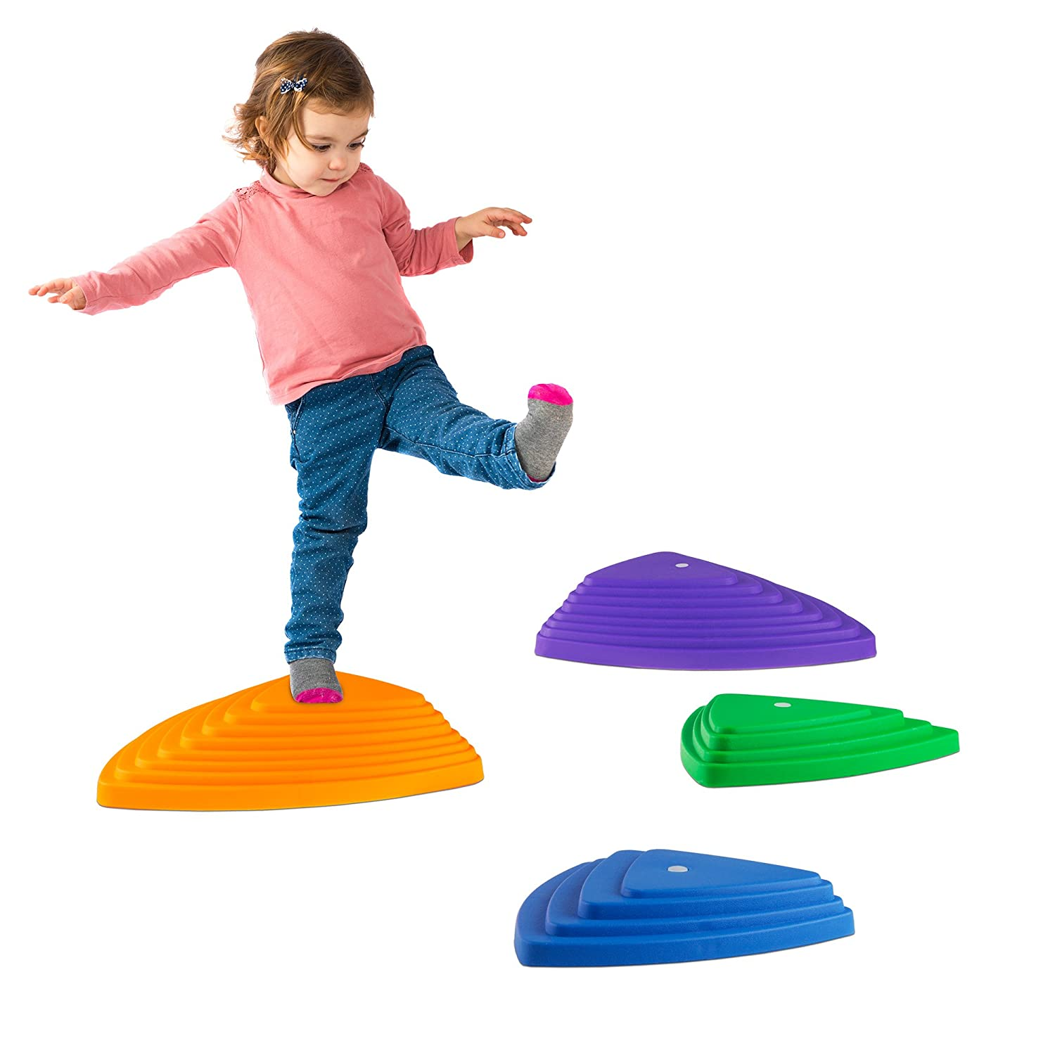 Hey Play Triangular Stepping Stones- Fun Triangles for Balance, Coordination and Exercise for Kids- Set of 6 3 Small Stones and 3 Large Stones