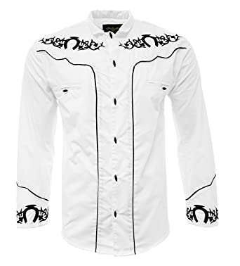 El General Men s Charro Shirt Camisa Charra Western Wear Color White Long  Sleeve (Small) 5c7b559bc