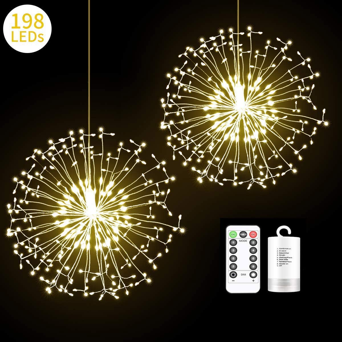 Decem Firework Lights Home,Party 2 Pack 198 LED Dadelion Shape Fairy String Lights Battery Operated Twinkle Starburst DIY Lights with Remote Control for Christmas Outdoor Decoration
