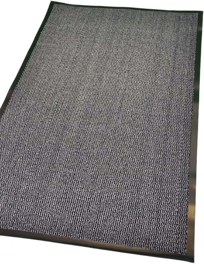 TrendMakers SMALL BEIGE//BLACK NON SLIP DOOR MAT RUBBER BACKED PVC EDGED KITCHEN MAT 40 X 60 CM