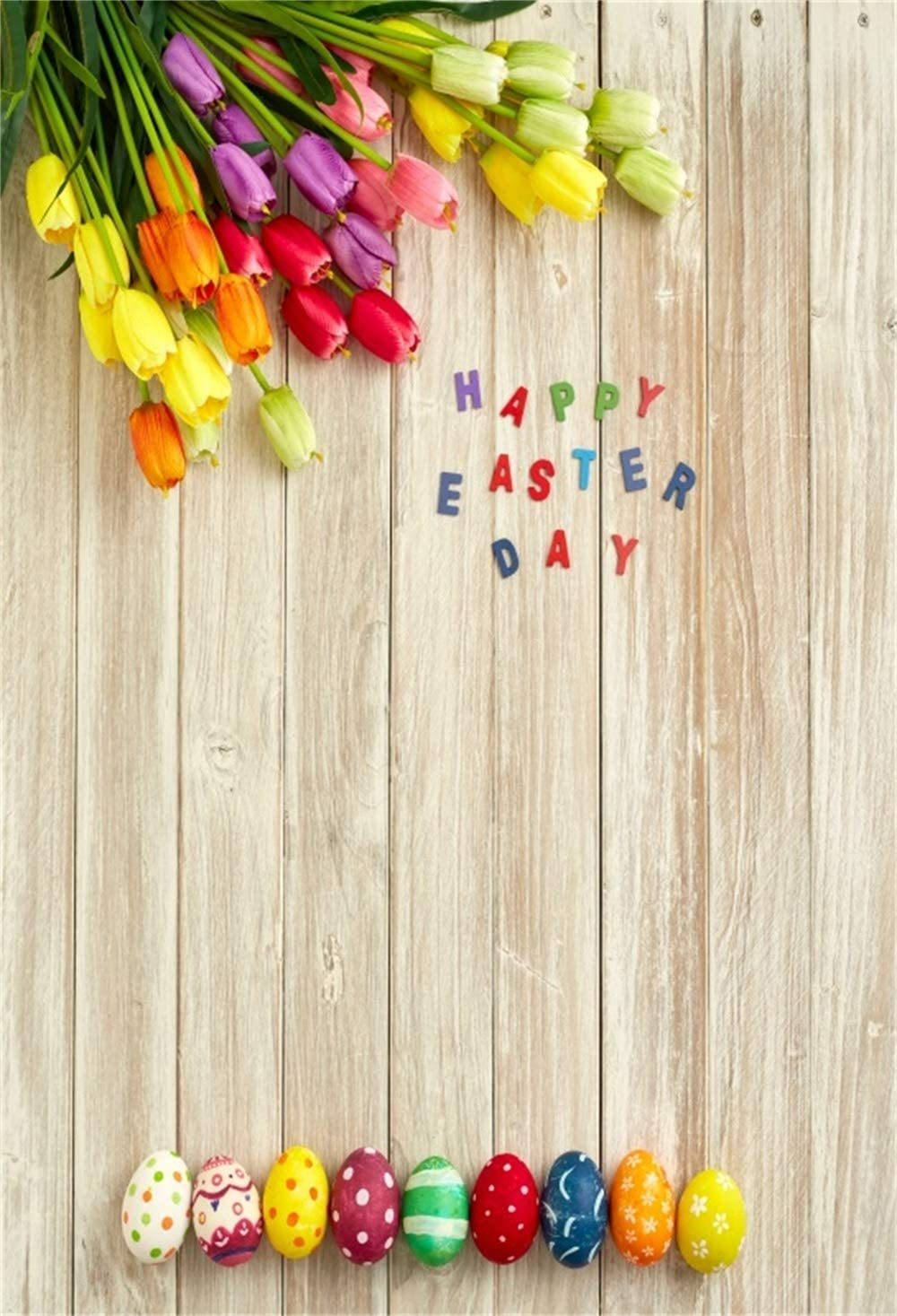 SZZWY Vinyl Happy Easter Day Photography Background 8x6.5ft Blooming Yellow Narcissus Close-up Cute Easter Eggs Grassland Spring Scenic Backdrops Children Adult Portraits Community Easter Egg Hunts
