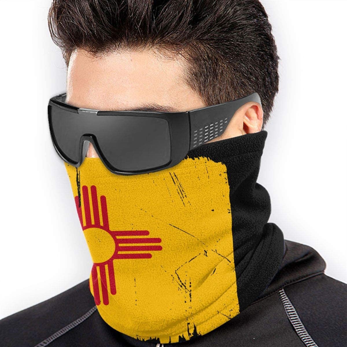 Distressed New Mexico Flag Men Women Face Mask Windproof Neck Warmer Cold Weather Head Wrap For Fishing Motorcycling