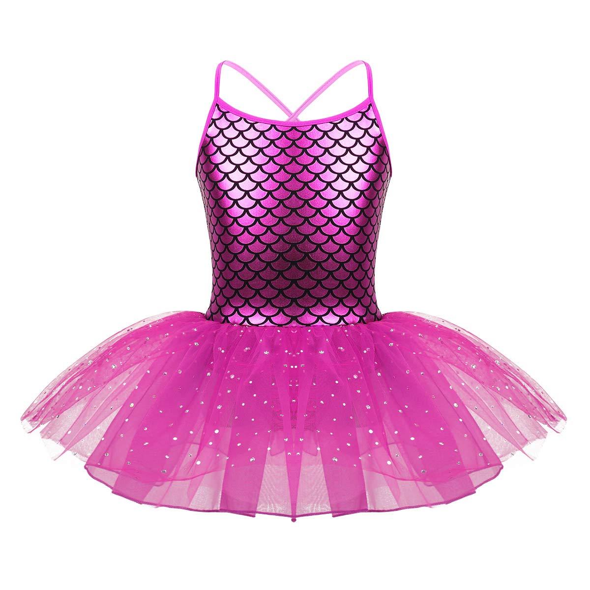 YONGHS Kids Girls Ballet Dance Tutu Dress Spaghetti Shoulder Straps Criss Cross Back Gymnastic Bodysuit