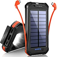Solar Charger 20000mAh Built-in USB B & Type C Cables, Damipow Solar Power Bank External High Capacity Battery Pack with…