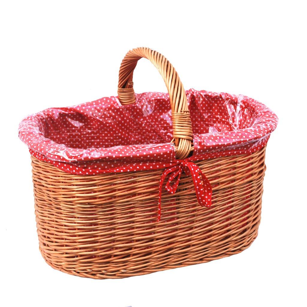 10-99-17 GalaDis Großer Einkaufskorb aus Weide geflochten mit Innenfutter (rot), Weidenkorb Geschenkkorb Präsentkorb (50 x 35 x 25)