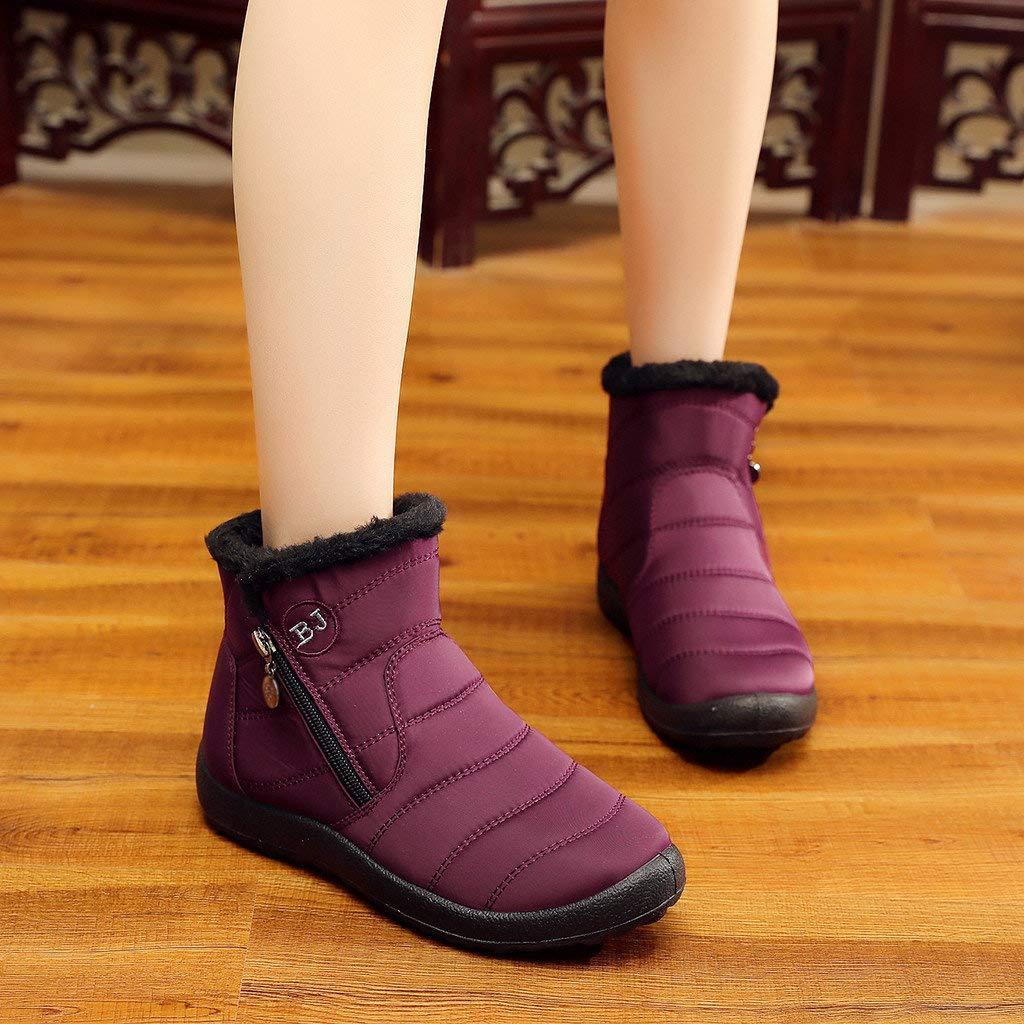 Mujeres Zapatos para Correr Deportes Invierno Zapatillas de Running con Cremallera Adultos Calentar Al Aire Libre Flat para Caminar Transpirables Antideslizante Zapatos Fannyfuny