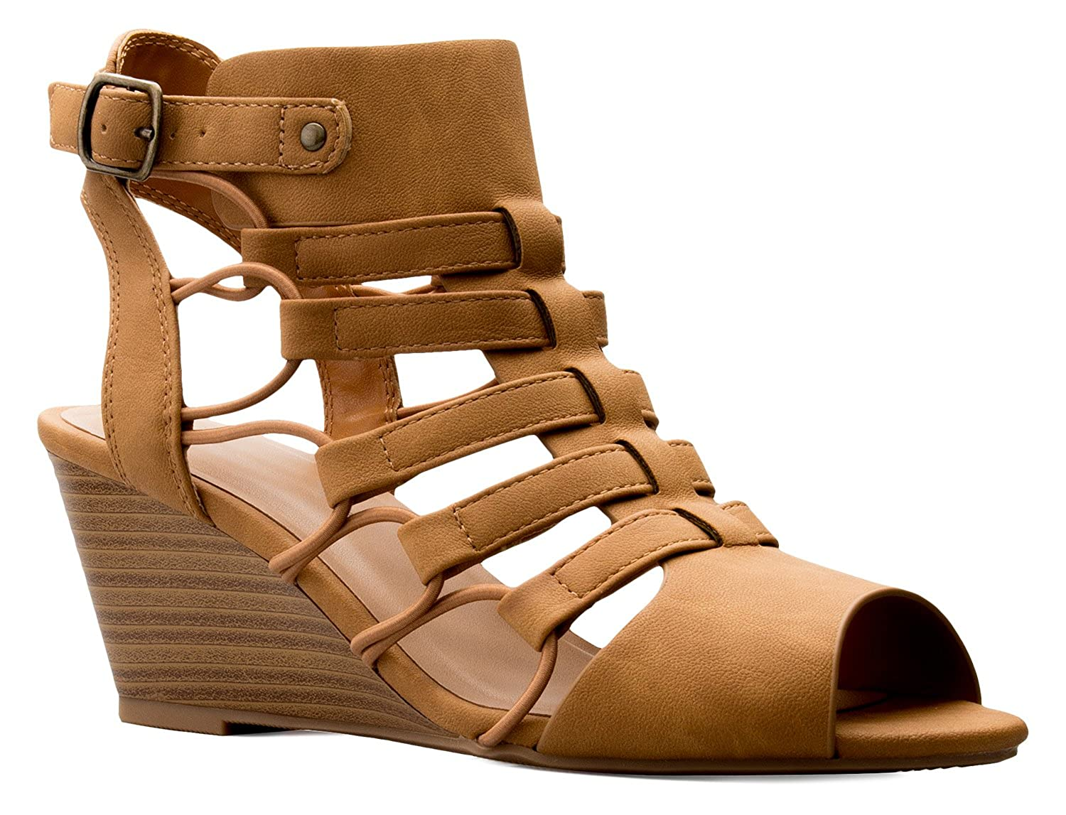 63996f6b07 Amazon.com | OLIVIA K Women's Strappy Cord Wedge Sandals - Sexy Open Toe  Heel - Comfort, Fasionable, Casual Style Tan | Platforms & Wedges