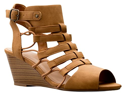 c41e64dbf OLIVIA K Women s Strappy Cord Wedge Sandals - Sexy Open Toe Heel - Comfort