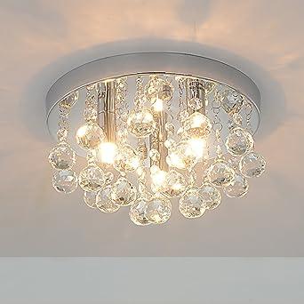 Amazon rh ruivast flush mount ceiling light crystal chandeliers rh ruivast flush mount ceiling light crystal chandeliers lighting 3 light fixture mini style modern ceiling mozeypictures Choice Image