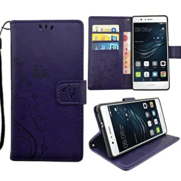 KUAWEI Funda Huawei P9 Lite 2016 Cover Huawei P9 Lite Funda con Tapa Flip Case Carcasa Cartera Interna Suave Soporte Plegable Ranuras para Tarjetas y ...