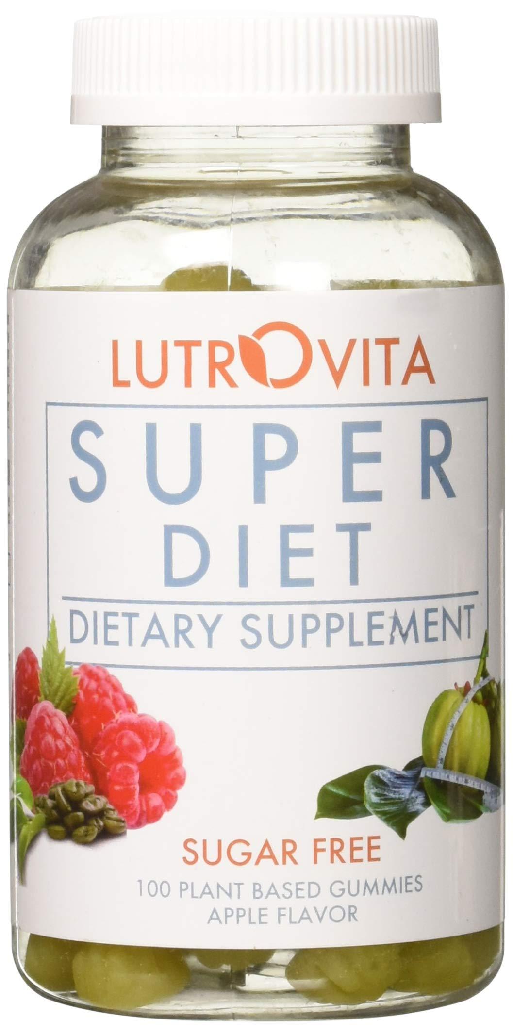 Lutrovita Sugar Free Super Diet Gummy, Apple, 100 Count