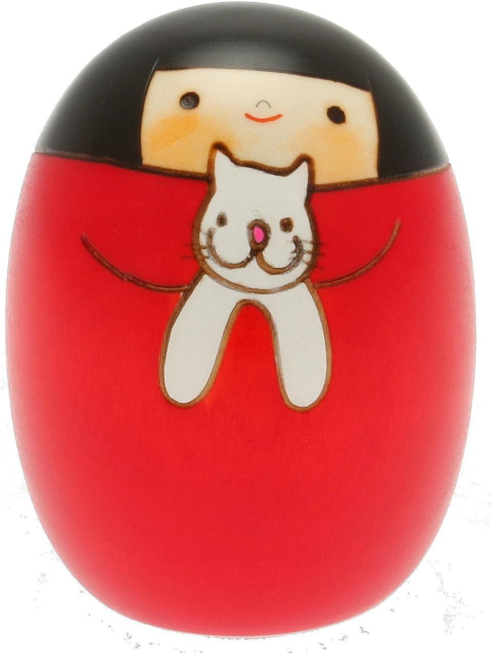 Usaburo Japanese Kokeshi Doll, Sally and Her Cat