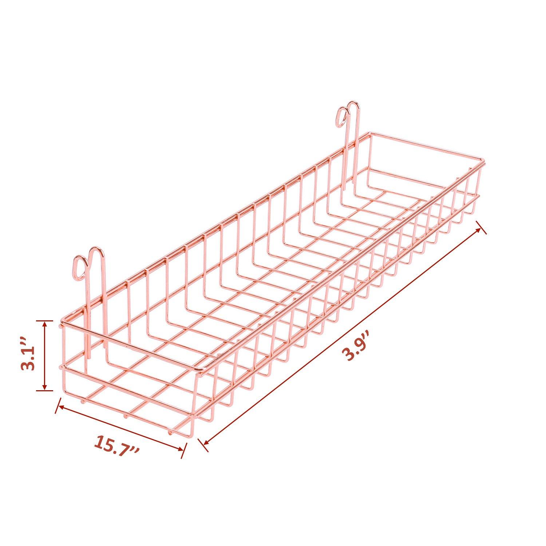 Rumcent Multipurpose Mesh Wall Plated Basket Wire Metal Storage Shelf Rack Idea For Home Supplies,Wall Decor Rose Gold Panel Hanging Tray Wall Mount Kitchen Bathroom Bin Organizer