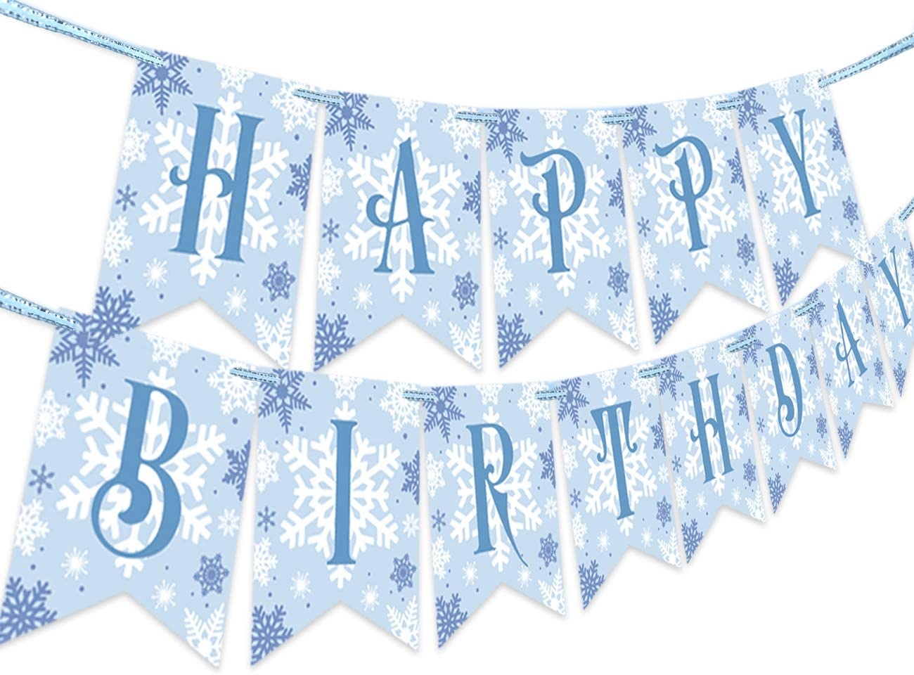Snowflake Happy Birthday Banner for Frozen Theme, Winter Wonderland 1st 2nd 3rd Birthday Party Decorations and Supplies