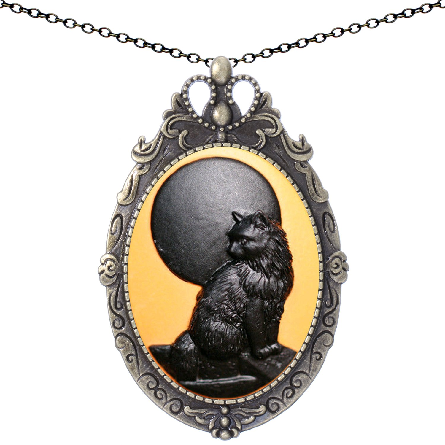 Black Cat Brooch Antique Brass Shield Shape Pendant Necklace Two Way Jewelry 20'' Chain Pouch Gift