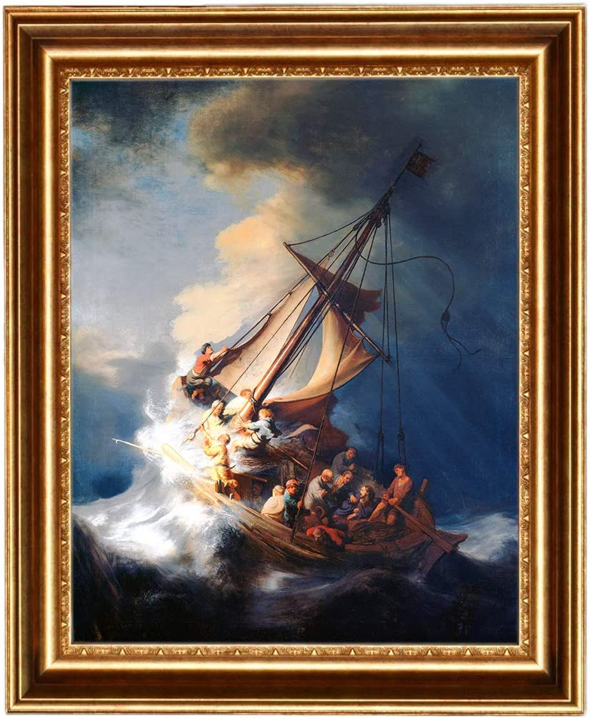 Eliteart-Christ in a Storm on The Sea of Galilee by The Dutch Golden Age Painter Rembrandt Van Rijn Oil Painting Reproduction Giclee Wall Art Canvas Prints