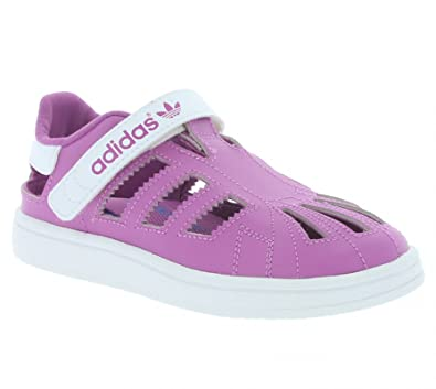 Adidas Infant Girls Superstar Comfort Sandal Leather Uppers D67620 Rosa  Pink /white Sizes 5.5k