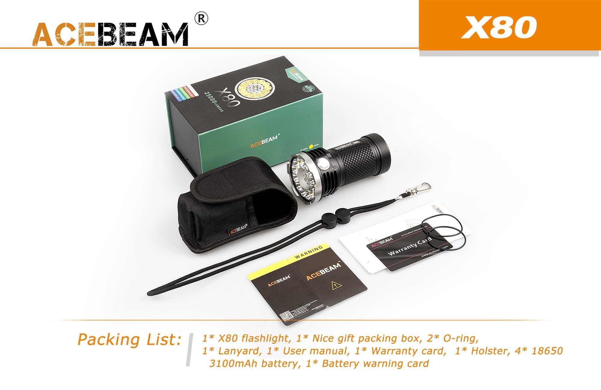 ACEBEAM X80 LED Flashlight 12x Cree XHP50.2 25000 Lumens 5-color Light Beam Flashlights Included 4 3100mah Batteries by Acebeam (Image #9)