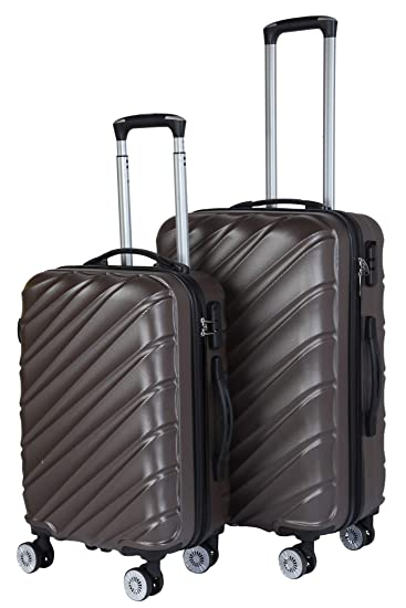 3G Combat 8020 Series 4Wheel Hard Sided Luggage Brown ABS Trolley Travel Bags Suitcase (20 and 24 Inch) -Set of 2