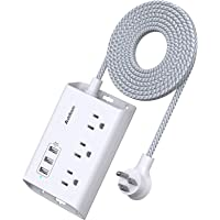 Power Strip with USB, Addtam ETL Certificate Flat Plug Extension Cord with 3 USB Ports, 3 Widely Spaced Outlets, 5 Feet…
