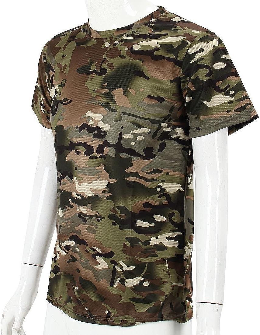 Cikuso Nuevo Camiseta camuflaje de caza al aire libre Camiseta del combate tactico del ejercito transpirable de hombre Camiseta de campamento camo de deporte seco militar Verde ACU M