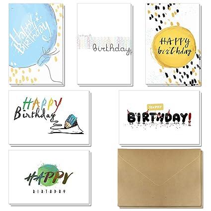 Tarjetas de cumpleaños - Paquete de 36 tarjetas de felicitación de feliz cumpleaños en 6 estilos de KUMY con sobres. Gran elección para niños, hombres ...