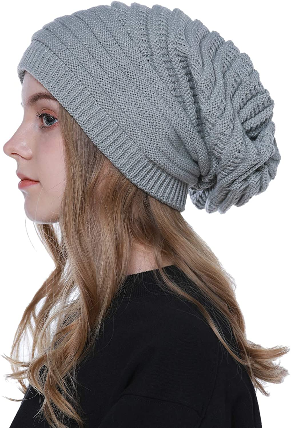 LADIES WOMENS MENS WINTER KNITTED WOLLY BEANIE SKI HAT SLOUCH OVERSIZED THERMAL