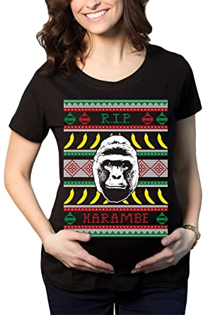 haase unlimited womens rip harambe ugly christmas sweater maternity t shirt black small - Maternity Christmas Sweater