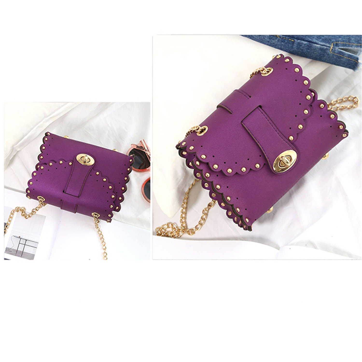 SHILINWEI Women Rivet Vintage Leather Wallets Embossed Wallet Clutch Handbags Shoulder Messenger Bag: Handbags: Amazon.com