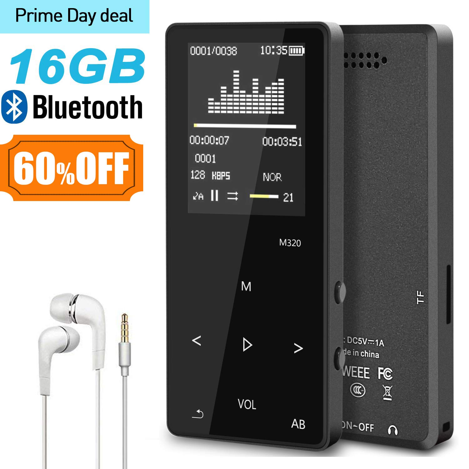 MP3 Music Player with Bluetooth, ASINNO 16GB Digital Lossless MP3/MP4 Audio Player with Voice Recorder/FM Radio/Media Player/E-Book Reader/Photo Viewer, Support up to 128GB-Black