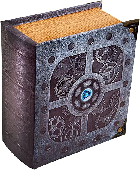 Large Wooden Spellbook Style Fabric Lined Deck or Cube Box for Mtg Yugioh and Other TCG Immortal 1000+ Card Capacity Wizardry Foundry Grimoire Deck Box