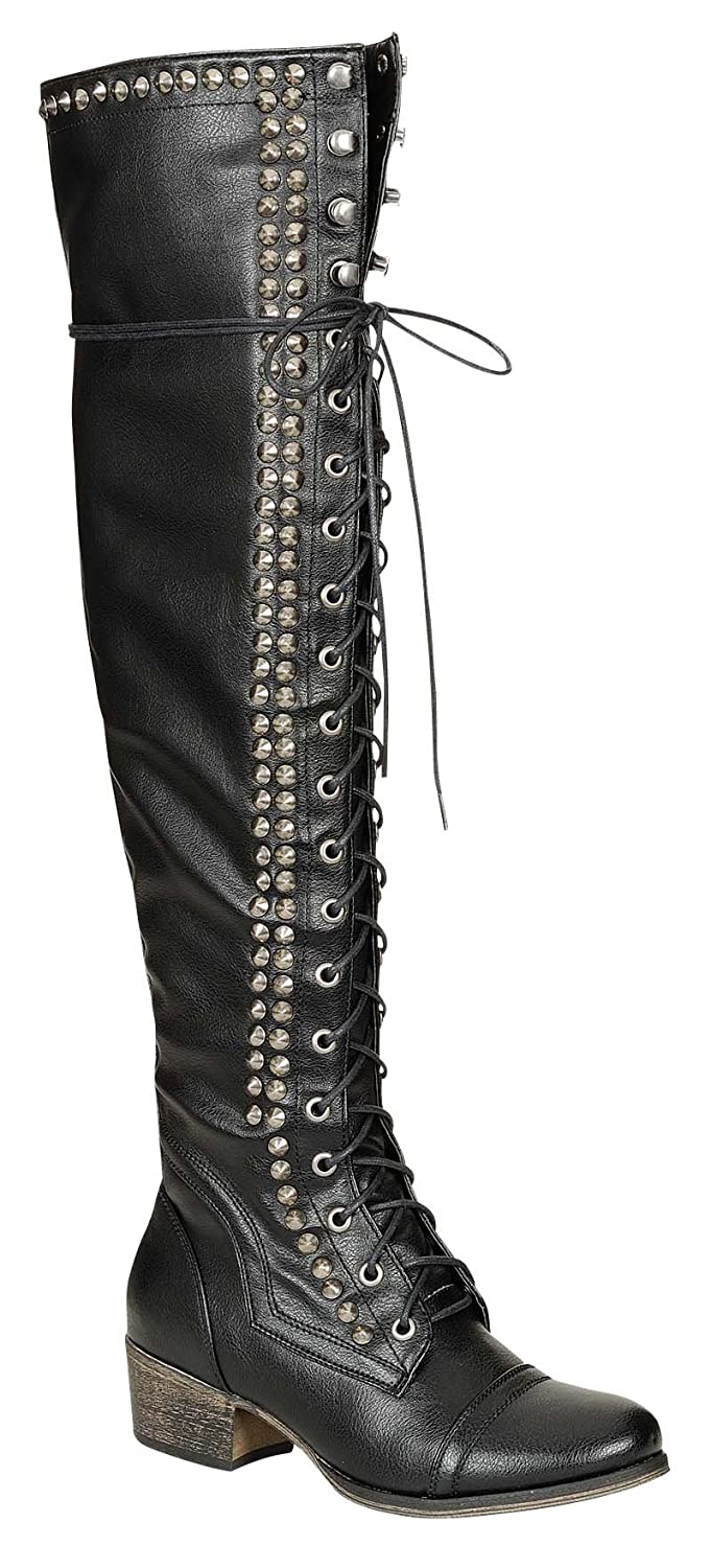 e8ed1d5b924 Breckelle s Alabama-13 Over-Knee Lace-up Combat Boots Black Size  6   Amazon.co.uk  Shoes   Bags