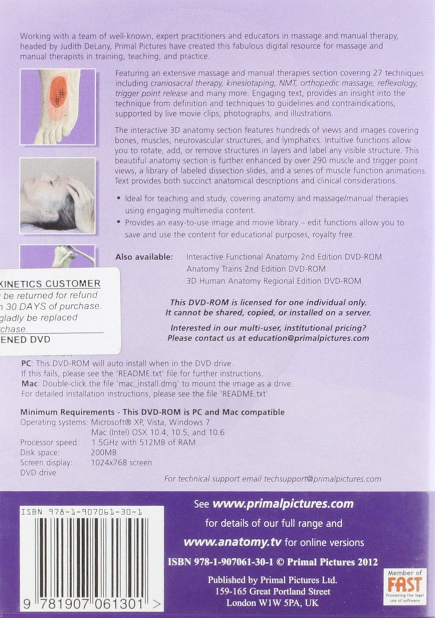 3D Anatomy for Massage & Manual Therapies DVD: Amazon.co.uk: Primal ...