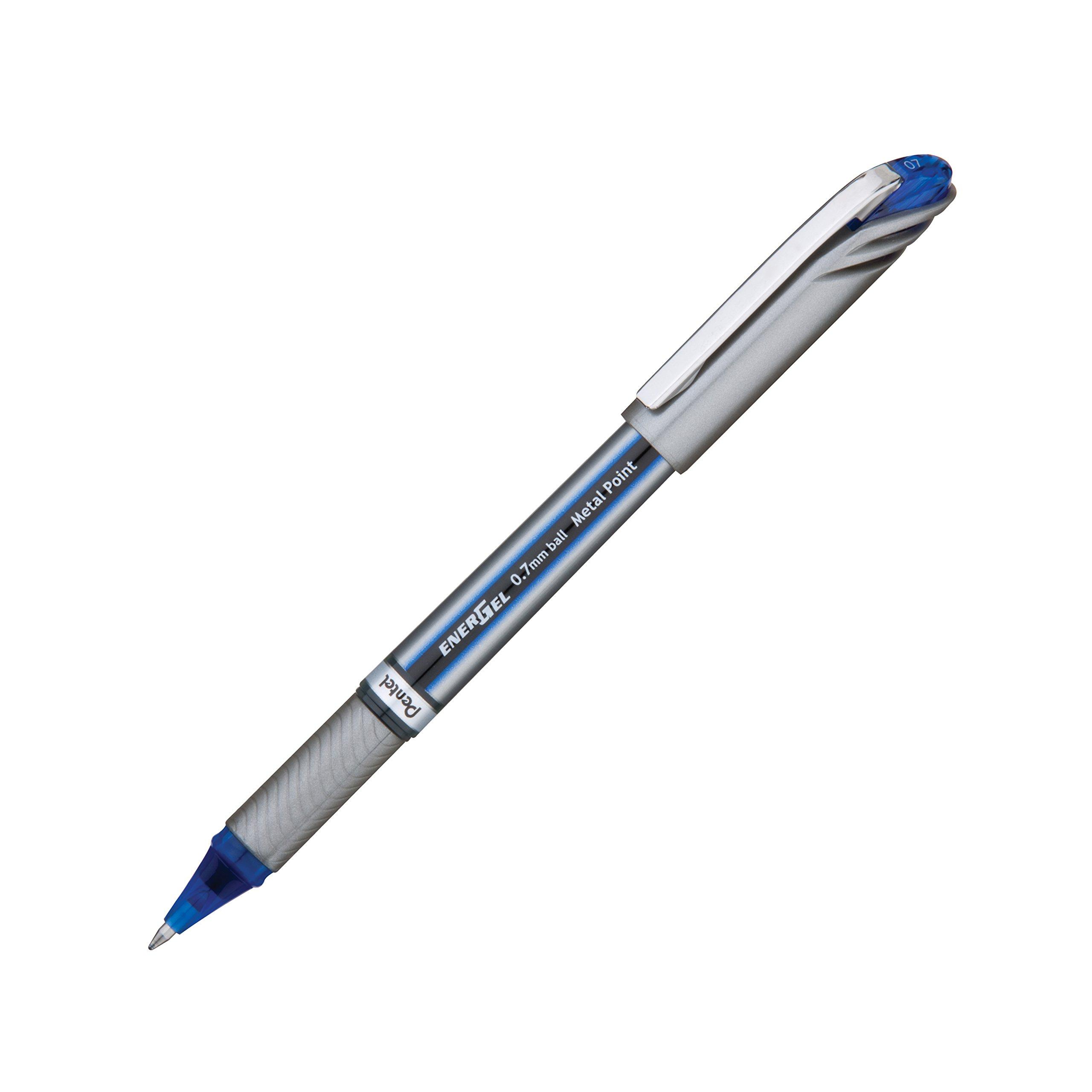 Pentel EnerGel NV Liquid Gel Pen, 0.7mm, Medium Line Capped, Metal Tip, Blue Ink, Box of 12 (BL27-C) by Pentel (Image #2)