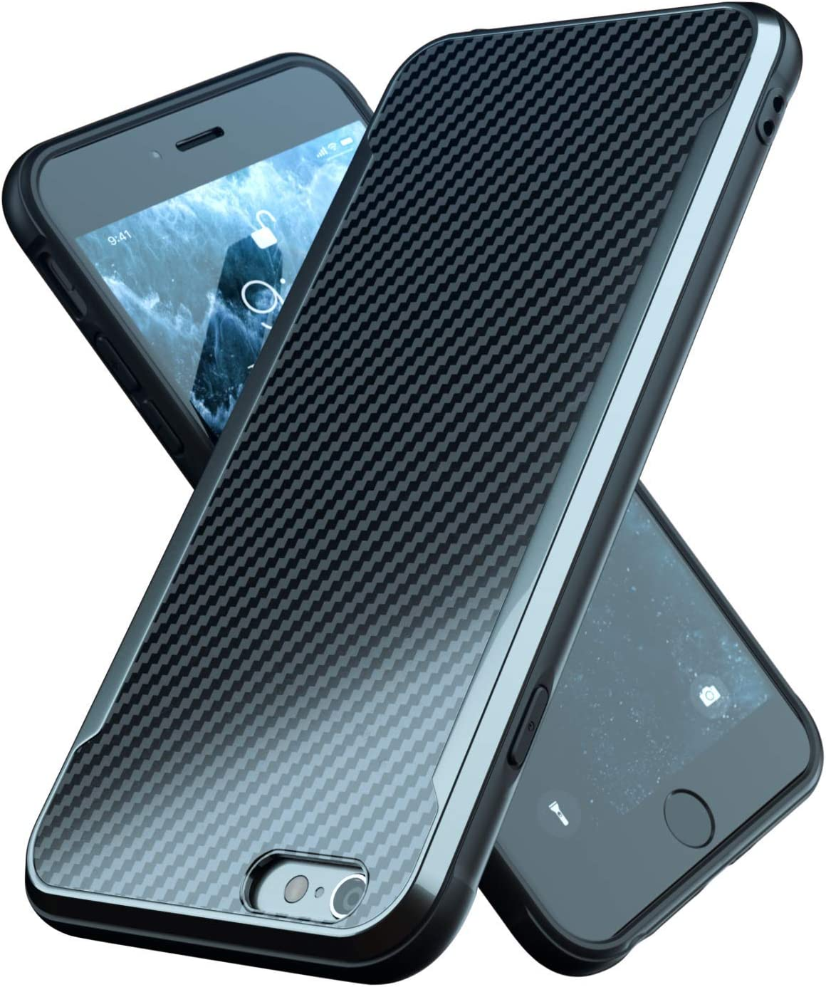 iPhone 6 Case | iPhone 6S Case | Shockproof | 12ft. Drop Tested | Carbon Fiber Case | Lightweight | Scratch Resistant | Compatible with iPhone 6/6S - Black